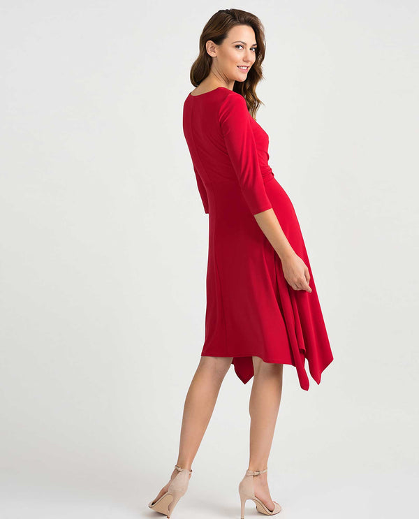Joseph Ribkoff 201295 3/4 Sleeve Dress Lipstick Red