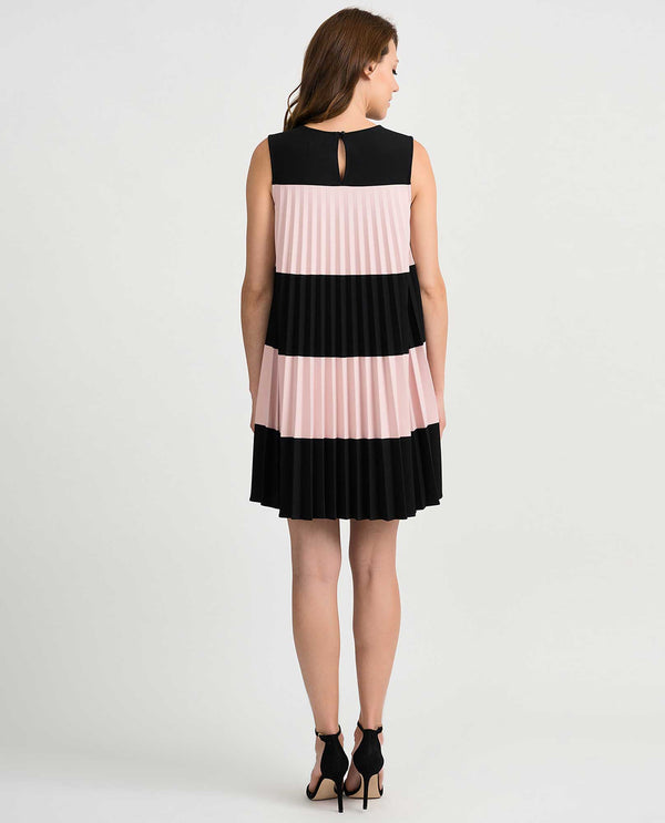 Joseph Ribkoff 201402 Sleeveless Pleated Wide Stripe Dress Black Rose