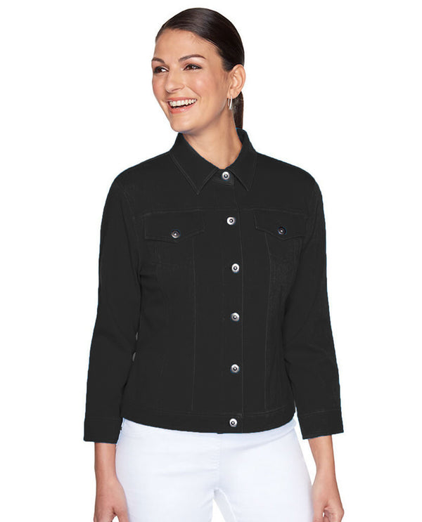 Ruby Rd 70333 3/4 Sleeve Twill Jacket Petite Black