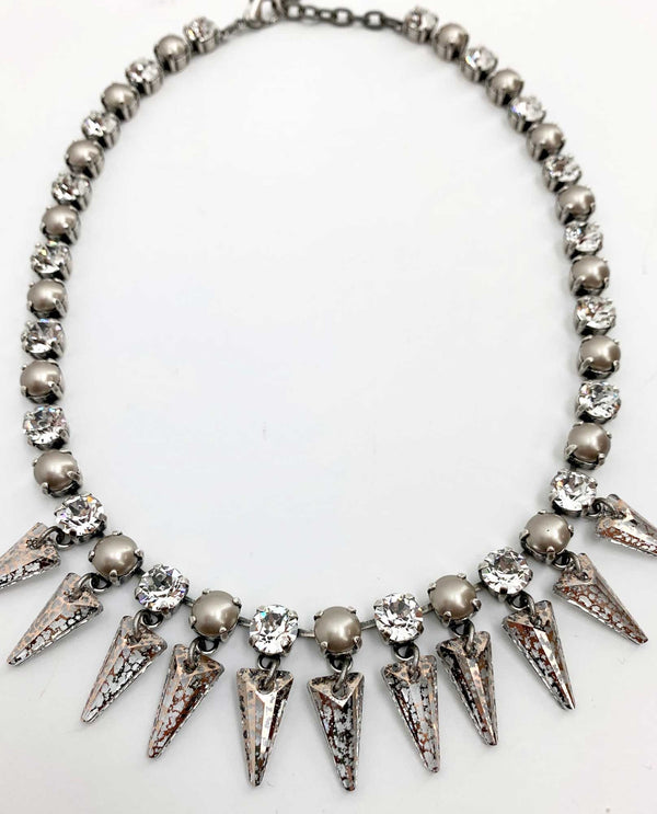 Platinum Pearl Spike Necklace By Rachel Marie Designs