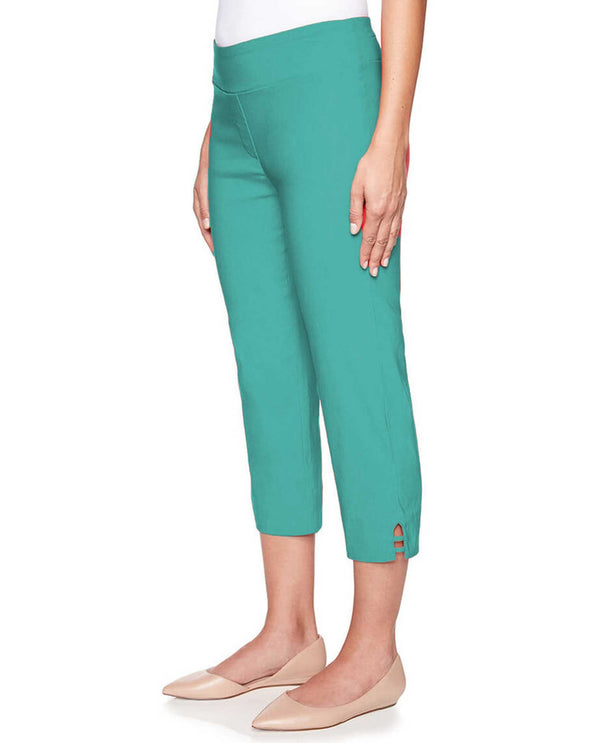 Ruby Rd 49700 Pull On Capris with Embellished Hem Jade