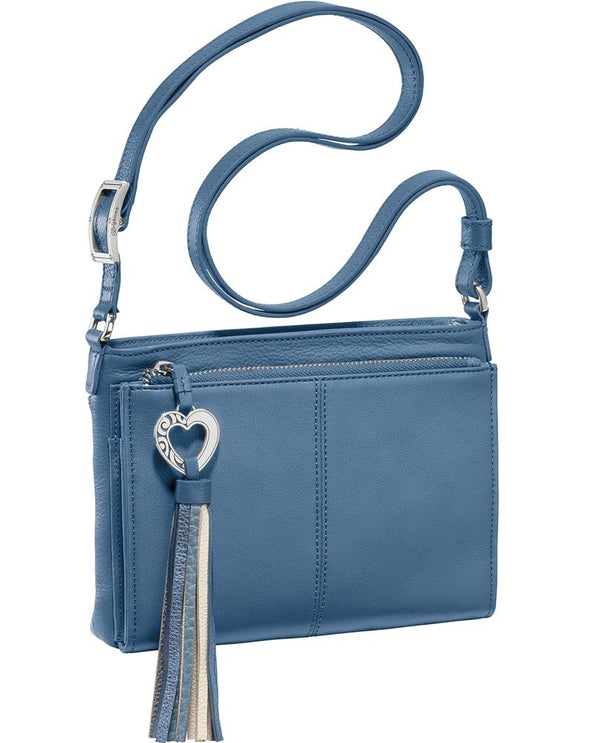 Barbados City Organizer Brighton T435AB Canyon Blue with heart tassel and leather material with multiple pockets
