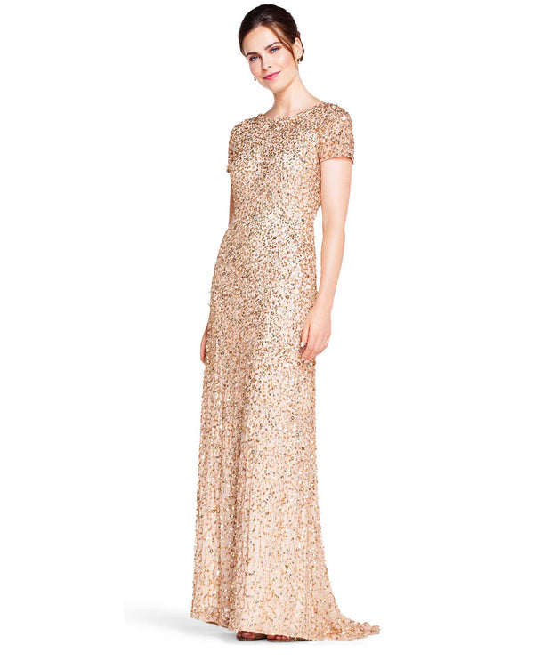 Adrianna Papell 091874602 Cap Sleeve Crunchy Bead Gown Champagne