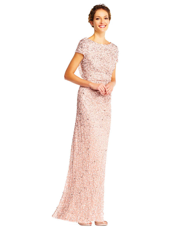 Adrianna Papell AP1E202166 Cap Sleeve Cowl Back Beaded Gown Blush