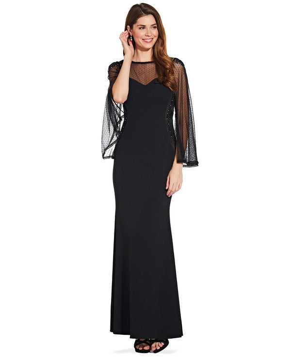Adrianna Papell AP1E206256 Bell Sleeve Evening Gown Black