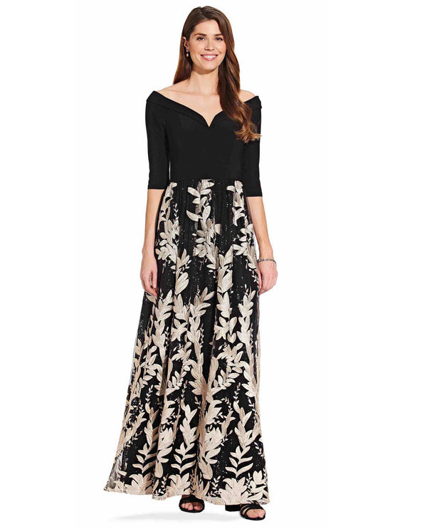 Adrianna Papell AP1E206562 Off The Shoulder Floral Gown Black and Cream