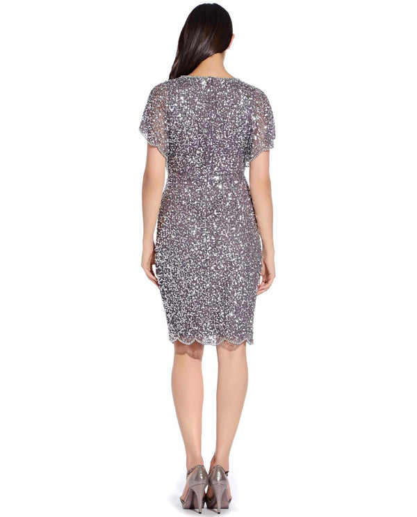 Adrianna Papell AP1E202224 Butterfly Sleeve Short Beaded Dress Moon