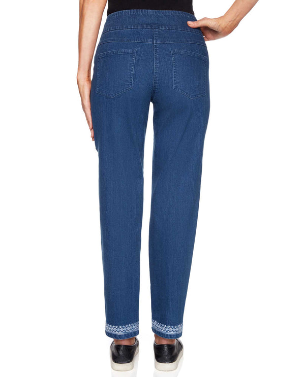 Ruby Rd 48700 Embellished Hem Ankle Pants Indigo