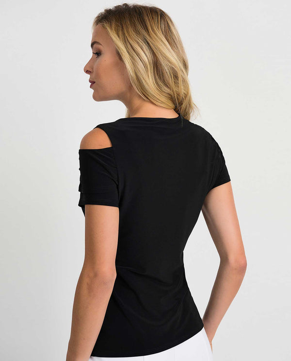 Joseph Ribkoff 201329 Left Side Cold Shoulder Top Black