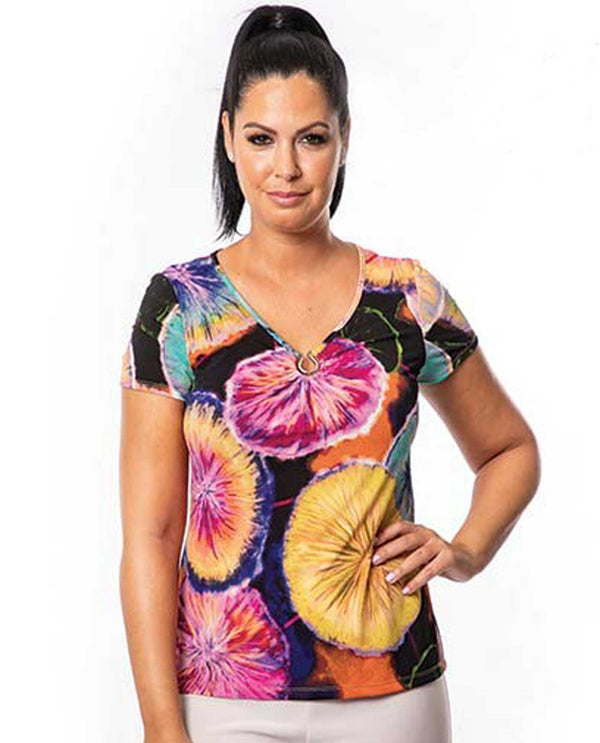 Bali 7186 Multi Print V-Neck Top