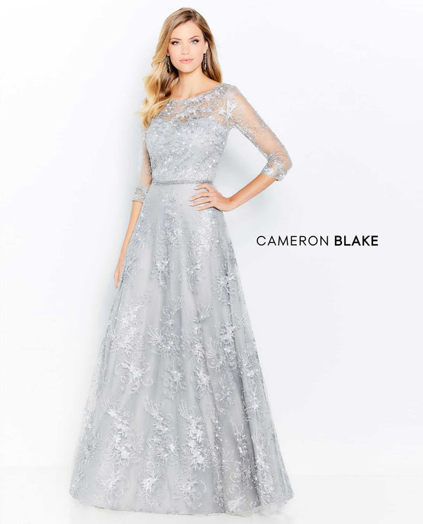 Cameron Blake 118682 Belted 3/4 Sleeve Gown grey