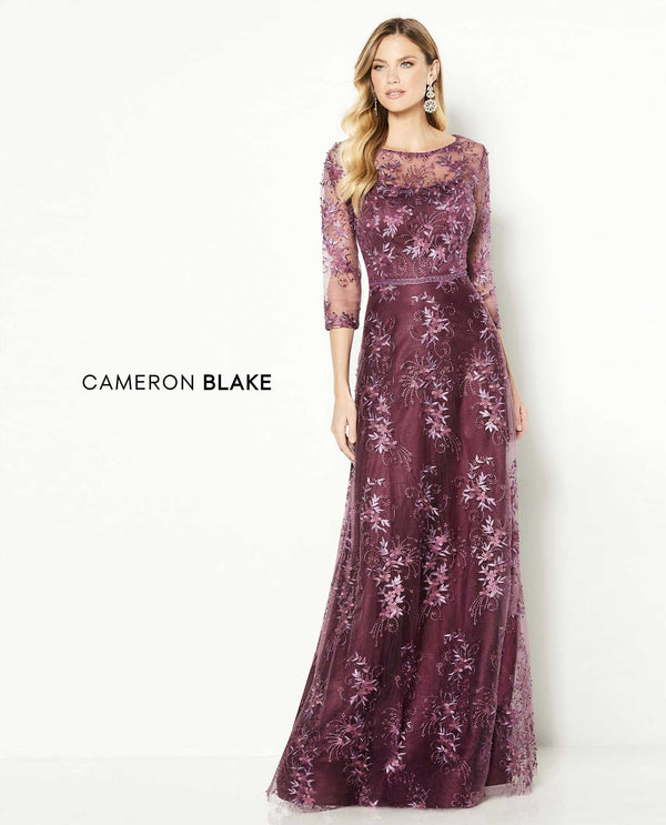 Cameron Blake 118682 Belted 3/4 Sleeve Gown plum