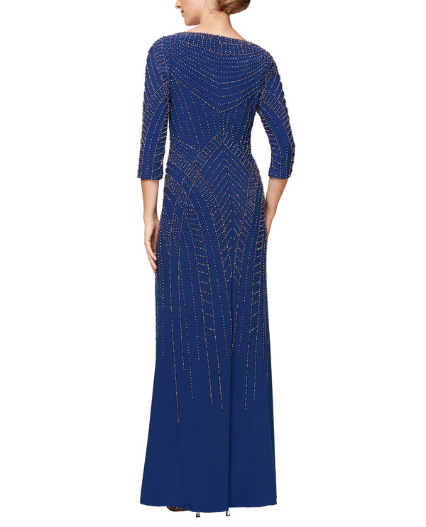 Bronze Blue Alex Evenings 81351516 3/4 Sleeve Beaded V-Neck Gown