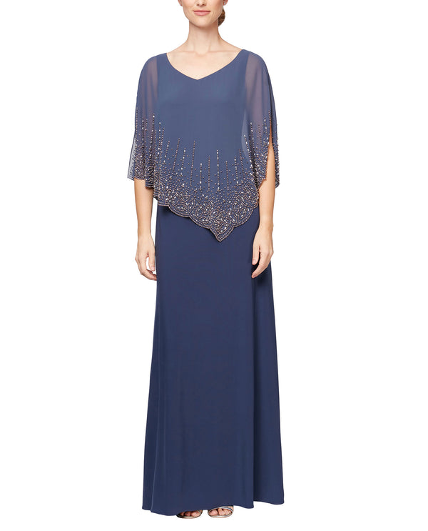 Alex Evenings 81351515 V-Neck Capelet Gown Wedgewood Blue