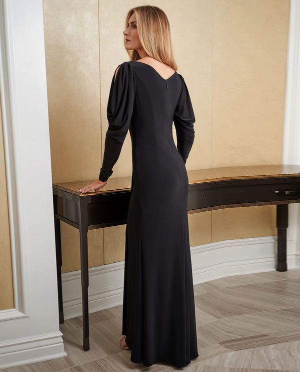 Jade Jasmine J225007 V-Neck Long Sleeve Gown with Slits Black