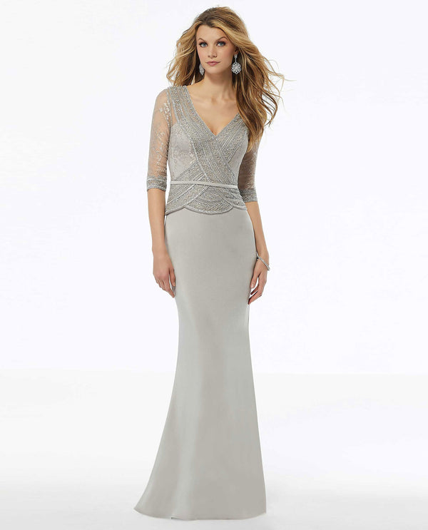 Silver Mori Lee 72117 Beaded Metallic Embroidered Gown