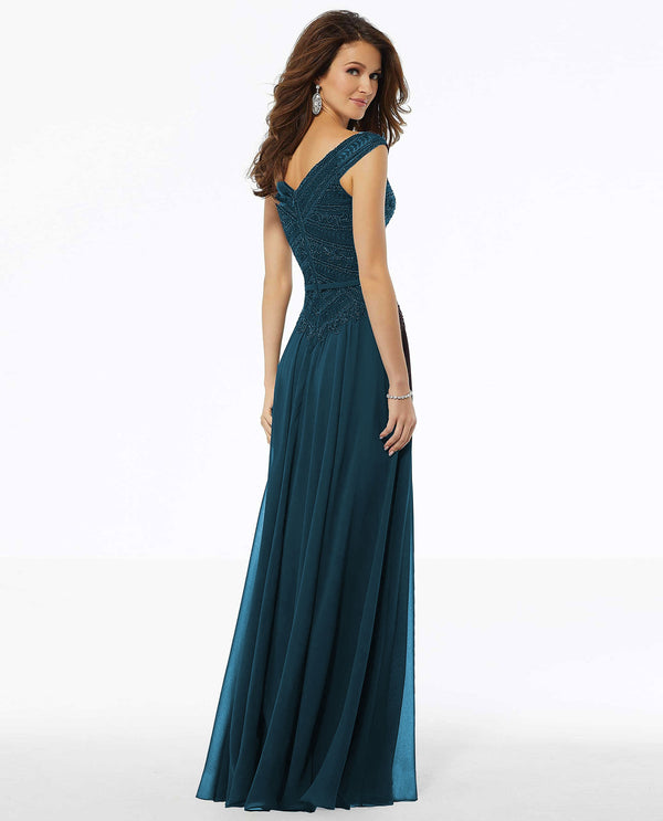 Mori Lee 72134 Beaded Embroidered Gown Teal