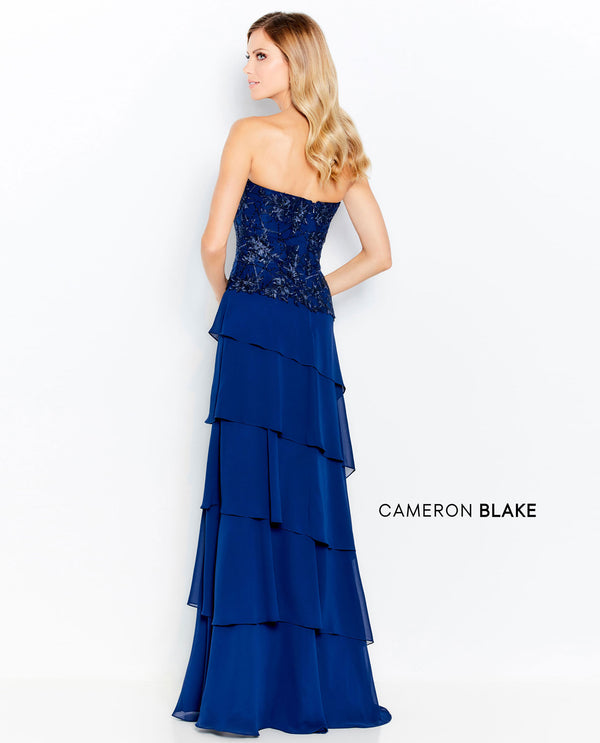 Cameron Blake 120603 Tiered Lace Gown with Beaded Bodice Navy