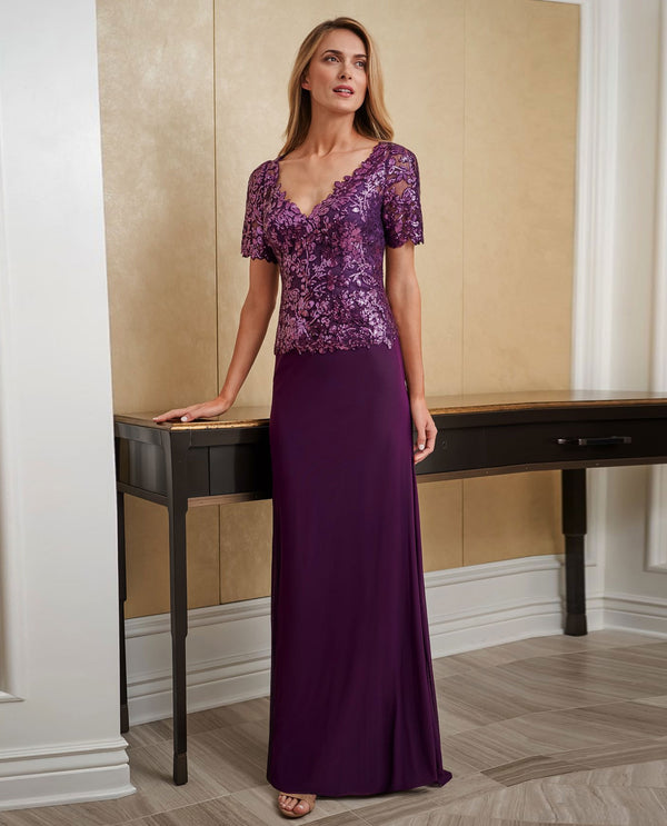 Jade Jasmine J225016 Sequin Lace Gown with V-Neck Bodice Bordeaux