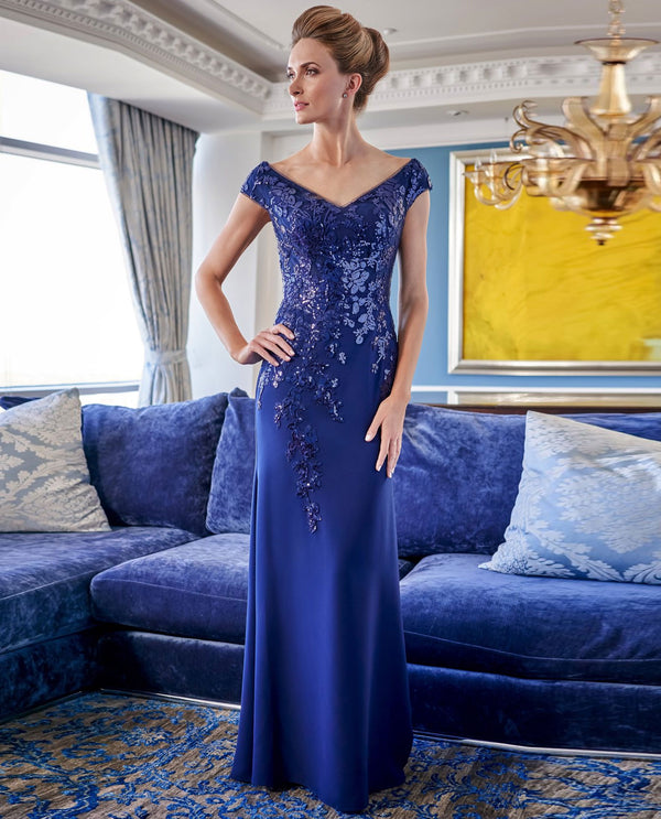 Jade Jasmine K228008 Portrait Neck Gown with Sequin Lace Navy