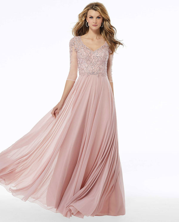 MGNY 72120 Beaded A-Line Evening Gown Blush