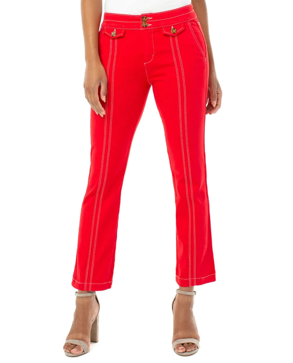 Liverpool Jeans LM7166MU Front Flap Crop Pants Red