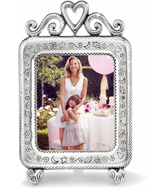 Brighton HP050 Good Times Frame silver 2z2 frame with a heart on top and swirls