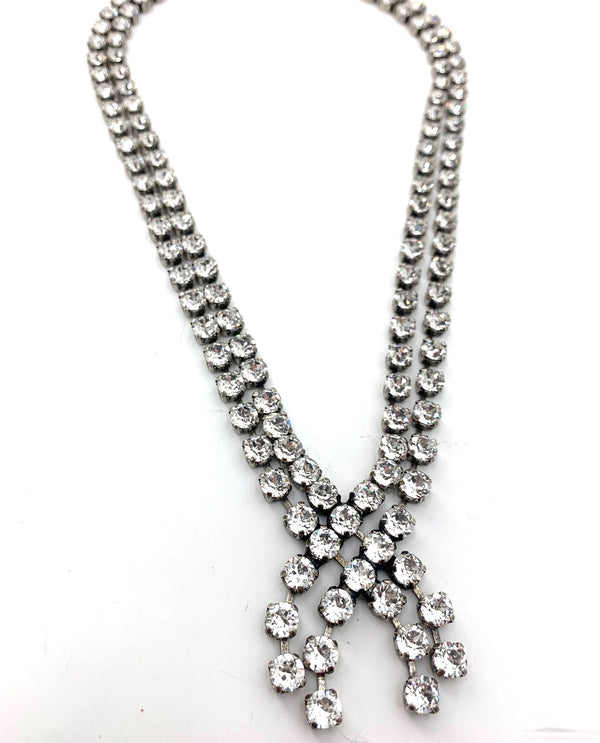 Crystal Criss Cross Necklace By Rachel Marie Designs clear