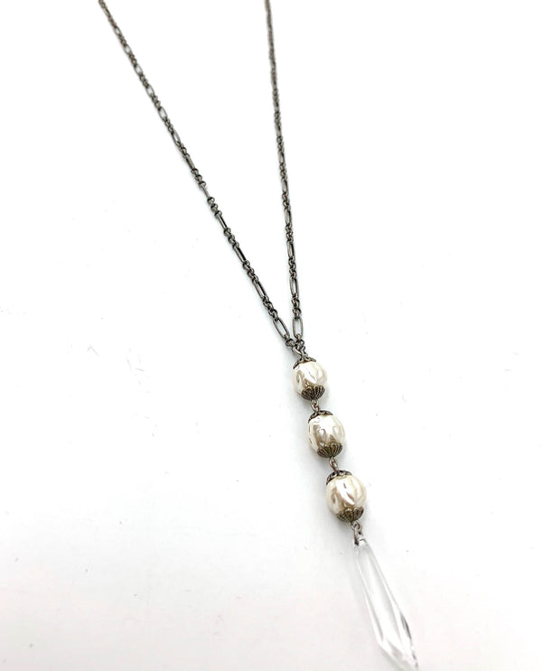 Link Chain Pearl Drop Necklace by Rachel Marie Designs