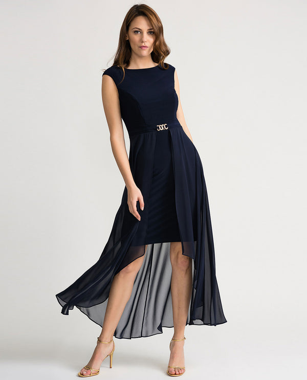 Joseph Ribkoff 202159 Sleeveless Dress with Overlay Skirt Midnight Navy