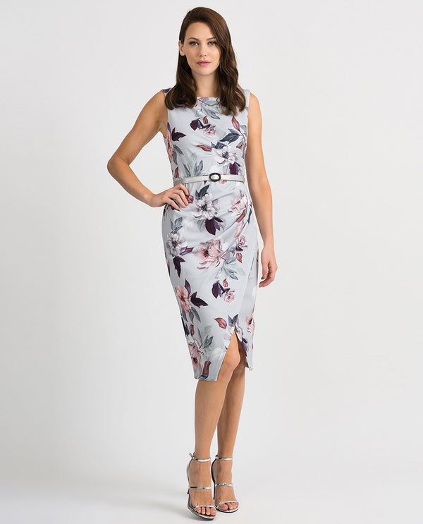 Joseph Ribkoff 201222 Floral Ruched Sleeveless Dress