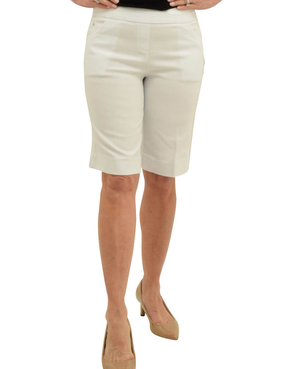 Renuar R9030-E730 Pull On Bermuda Shorts White