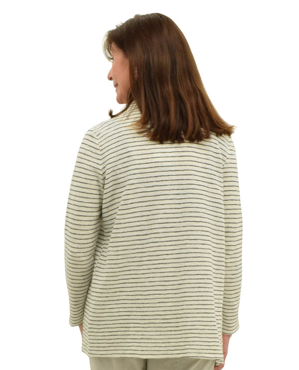 Habitat T62921 Striped Cardigan with Pockets White