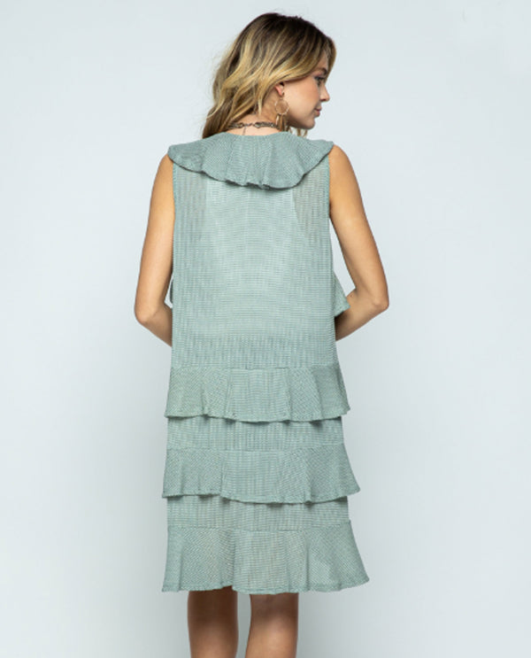 Vocal 18405V Ruffled Open Vest Mint
