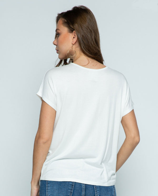 Vocal 18511S Short Sleeve Top with Stones off white