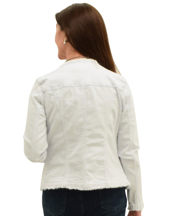 Charlie B C6086R-615A Collarless White Jean Jacket