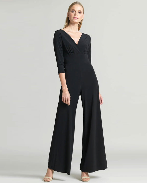 Clara Sun Woo JU88L V Neck Jumpsuit with Sleeves Black