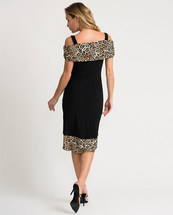 Joseph Ribkoff 202161 Off Shoulder Animal Print Dress Black