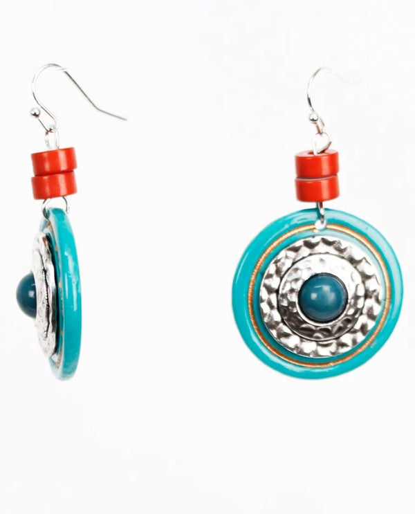 Treska TIK8091 Tiki Turquoise Color Disc Drop Earrings