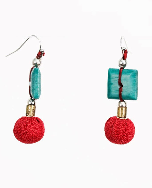 Treska TIK8101 Tiki Linked Bead Drop Earrings