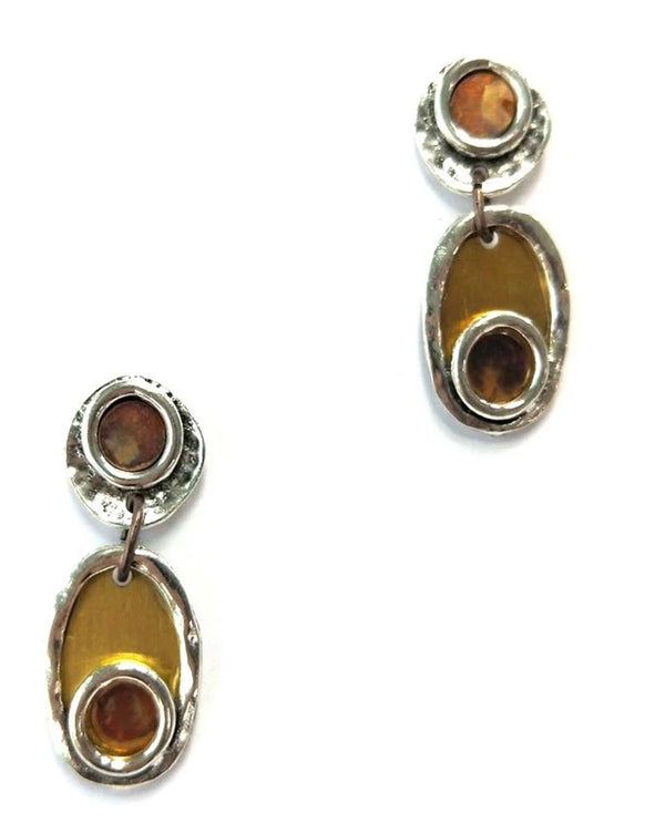 Treska FOR6191 Forged Post Top with Oval Drop Earrings