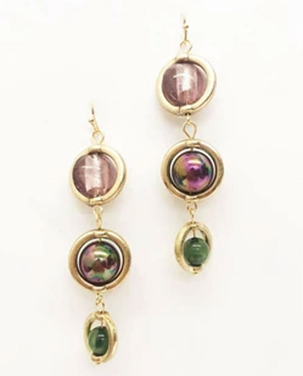 Treska WIL9021 Wild Orchid Linked Drop Earrings