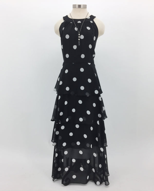 Black & Ivory Sleeveless Polka Dot Tiered Maxi Dress