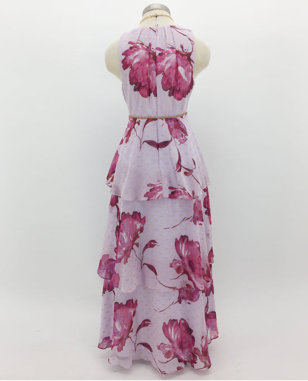 Pink Petite Floral Print Tiered Dress