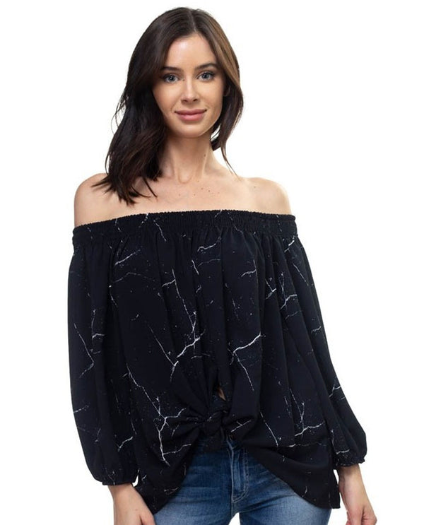 Ariella T1021-P513 Off Shoulder Tie Front Top Black