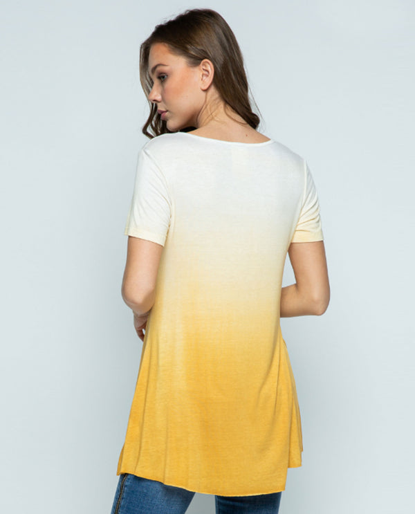 Vocal IM1502S Ombre Dye Short Sleeve Top Mustard