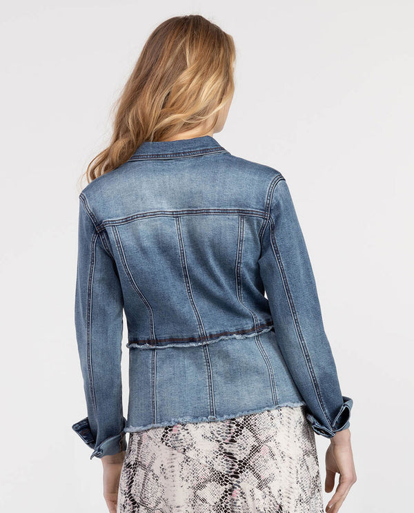 Tribal 6654O Jean Jacket with Cut Hem Blue