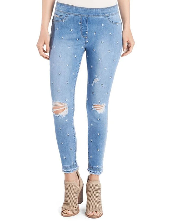 Coco & Carmen 2019077 Star Embroidered Jeans Light Denim
