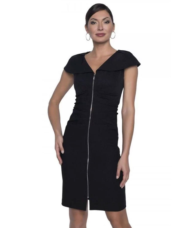Frank Lyman 196739 Zip Front Dress with Ruching Black