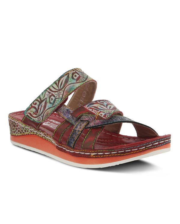 L'Artiste by Spring Step Caiman Slide Sandal Red
